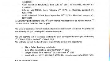 Bercy, Off invitation IRANIAN